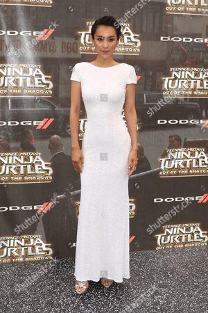 Jane Wu, wearing a Badgley Mischka dress