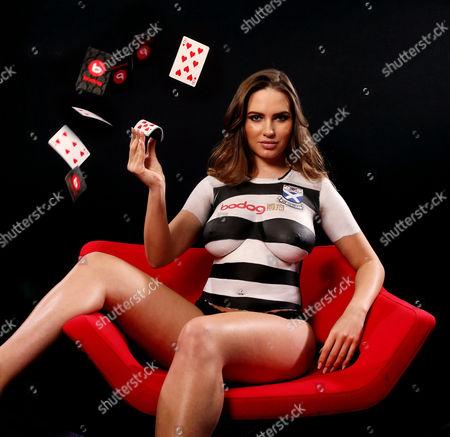 Model Sabine Jemeljanova wearing bodypaint Ayr United shirt.