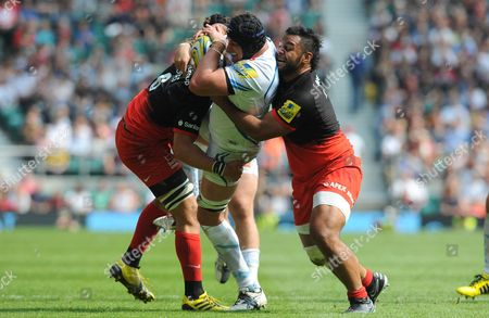 Exeter's Mitch lees simultaenously tackled by Michael Rhodes and Billy Vunipola (R) - Rugby Union - Saracens v Exeter Chiefs - Aviva Premiership Final - 28/05/16 - at Twickenham Stadium London, UK. Photo Credit; Tom Dwyer/Seconds Left Images