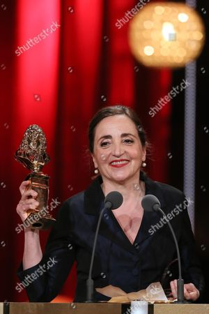 Dominique Blanc receiving the Moliere Award for the category Best actress in a public theatre play for 'Les Liaisons dangereuses'
