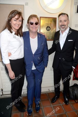 Stock Image of Anne Aslett with Sir Elton John and David Furnish