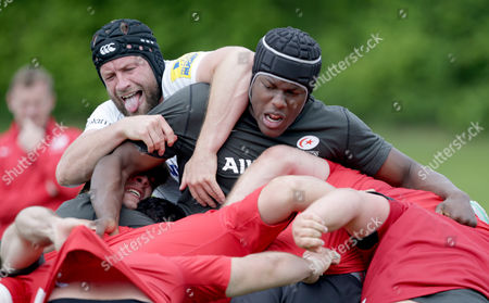 Editorial photo of Saracens Training, Rugby Union, Old Albanians RFC, St.Albans, England - 24/05/2016