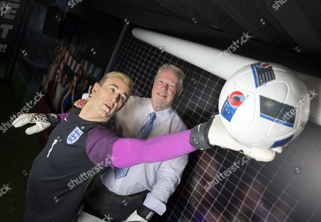Charles Hart with waxwork figure of his son Joe Hart
