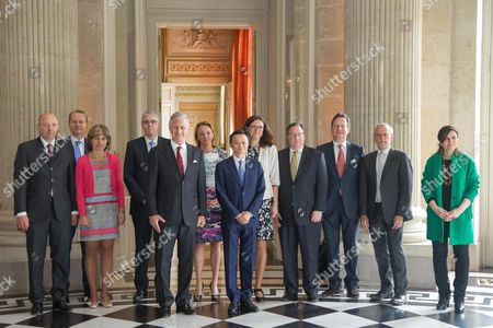 Dominique Leroy, Pieter Timmermans, Michele Sioen, King Philippe, Jack Ma, Cecilia Malmstrom, Jeff Colruyt