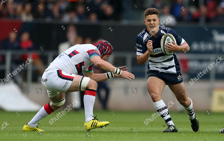 Callum Sheedy of Bristol is tackled by Michael Hills of Doncaster.