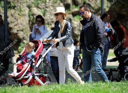Michelle Hunziker with daughters Celeste Trussardi and Sole Trussardi
