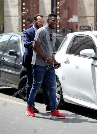 Samuel Eto'o and Alessandro Martorana seen going to a stylist to get a tailored suit
