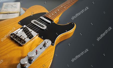 Detail Of A Vintage 1966 Fender Telecaster Electric Guitar Previously Owned By English Musician Mike Oldfield