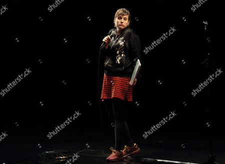 """Josie Long performing at the Cambridge theatre in """"Stand up for Street Child"""", charity event in aid of Street Child's Girls Speak Out appeal"""