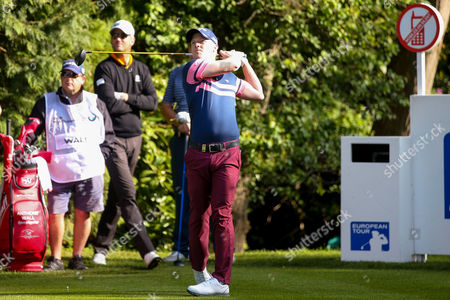 English golf professional David Horsey  tees off during the BMW PGA Championship at the Wentworth Club, Virginia Water