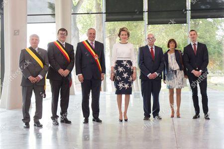 Queen Mathilde visits the En Plein Air exhibition - Willy Demeyer, Herve Jamar, Queen MathildeC