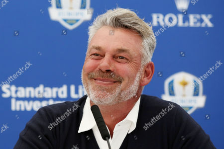 European Team Captain for the upcoming Ryder Cup Darren Clarke smiles widely as he announces his selected Vice Captains Paul Lawrie, Pardraig Harrington and Thomas Bjorn during the BMW PGA Championship Day Two played at the Wentworth Club, Surrey on 27th May 2016