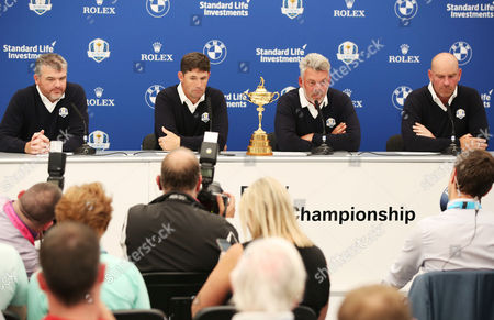 European Team Captain for the upcoming Ryder Cup Darren Clarke announces his selected Vice Captains Paul Lawrie, Pardraig Harrington and Thomas Bjorn during the BMW PGA Championship Day Two played at the Wentworth Club, Surrey on 27th May 2016