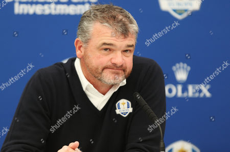 Paul Lawrie speaks as European Team Captain for the upcoming Ryder Cup Darren Clarke announces his selected Vice Captains during the BMW PGA Championship Day Two played at the Wentworth Club, Surrey on 27th May 2016