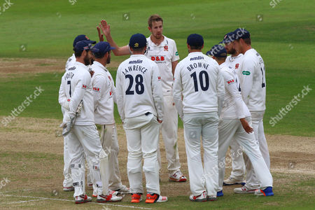 Stock Photo of Matt Quinn of Essex celebrates taking the wicket of Olly Stone during Northamptonshire CCC vs Essex CCC, Specsavers County Championship Division 2 Cricket at the County Ground on 29th May 2016
