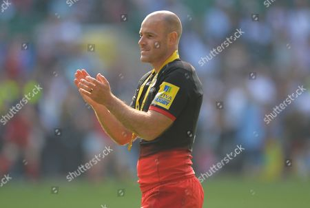 Charlie Hodgson of Saracens applauds the fans after playing his final game during the Aviva Premiership Rugby Final match between Saracens and Exeter Chiefs played at Twickenham Stadium, London on May 28th 2016