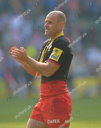 Charlie Hodgson of Saracens  applauds the fans during a lap of honour during the Aviva Premiership Rugby Final match between Saracens and Exeter Chiefs played at Twickenham Stadium, London on May 28th 2016