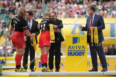 Charlie Hodgson of Saracens collects his winners medal during the Aviva Premiership Rugby Final match between Saracens and Exeter Chiefs played at Twickenham Stadium, London on May 28th 2016