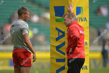 Saracens Head Coach Mark McCall talks with Richard Wigglesworth during the Aviva Premiership Rugby Final match between Saracens and Exeter Chiefs played at Twickenham Stadium, London on May 28th 2016