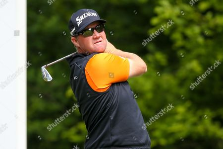 Swedish golf professional Peter Hanson  tees off at the 5th during the BMW PGA Championship at the Wentworth Club, Virginia Water