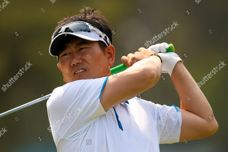 Tee shot from Korean golf professional Y E Yang during the BMW PGA Championship at the Wentworth Club, Virginia Water