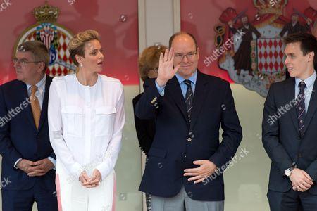 Stock Photo of Princess Charlene and Prince Albert II of Monaco and Louis Ducret