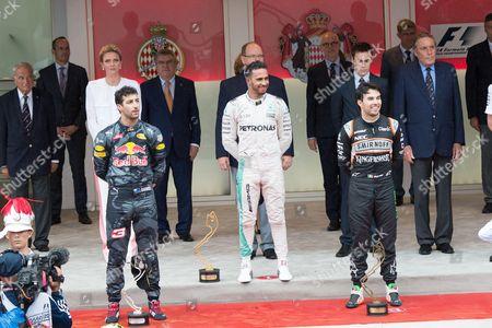 Stock Picture of Princess Charlene of Monaco, Prince Albert II of Monaco, Louis Ducret, Daniel Ricciardo, Lewis Hamilton, Sergio Perez