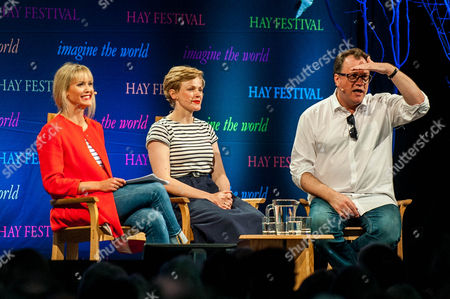 Stock Photo of Clemency Burton-Hill Hill talks to Maxine Peake and Russell T Davies at the Hay festival