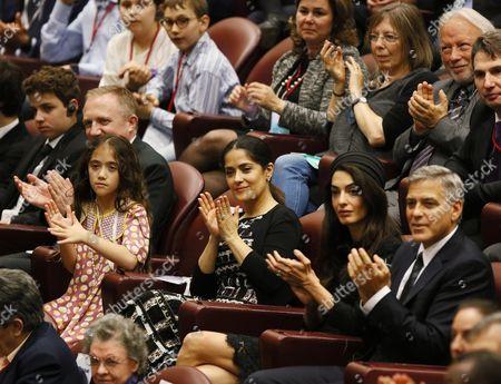 Francois-Henri Pinault, Salma Hayek, Valentina Paloma Pinault, Amal Clooney and George Clooney