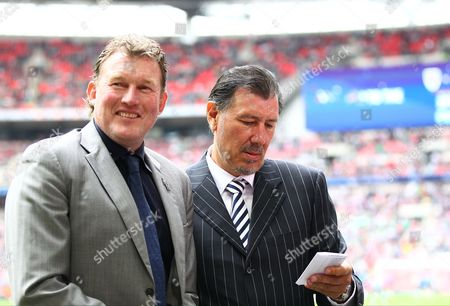 AFC Wimbledon legends Dave Beasant and Lawrie Sanchez  before the Sky Bet Football League 2  Play-off Final match between  AFC Wimbledon and  Plymouth Argyle  played at Wembley Stadium  , London on 30th May 2016