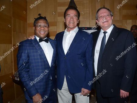 Fikile Mbalula, Arnold Schwarzenegger and Gert Oosthuizen