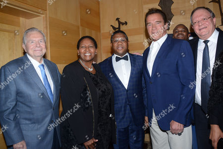 Stock Picture of Jim Lorimer, Faith Mazibuko, Fikile Mbalula, Gert Oosthuizen with Arnold Schwarzenegger