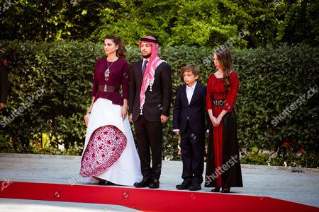 Queen Rania accompanied by HRH Crown Prince Al Hussein, HRH Prince Hashem and Princess Lalla Salma.