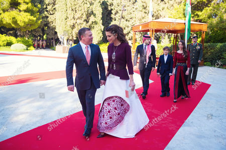 King Abdullah II and Queen Rania accompanied by HRH Crown Prince Al Hussein, HRH Prince Hashem and Princess Lalla Salma.
