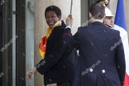 French minister of overseas territories George Pau-Langevin smiles as she arrives, prior to a meeting for the Latin American and Caribbean Week at the Elysee Palace