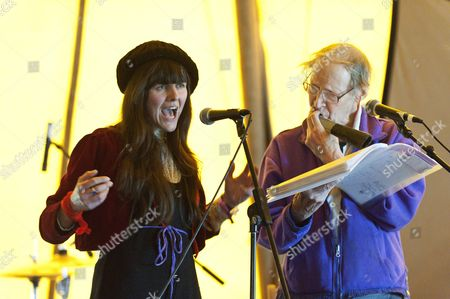 Stock Photo of Vanessa Vie and Michael Horovitz give a performance of poetry at The Hat venue at the Riverside site