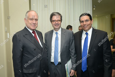 Ronald Lauder, President of the World Jewish Congress, French Ambassador to the United Nations Francois Delattre, Israeli ambassador to the UN Danny Danon