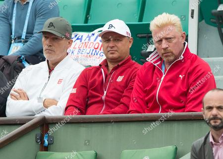 Novak Djokovic Team Coach Boris Becker, Marian Vajda and Physiotherapeut Gebhard Gritsch
