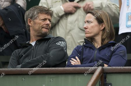 Justine Henin of Belgium and Iain Hughes of Great Britain, coaches of Elina Svitolina of Ukraine on Day Eleven of the 2016 French Open Tennis championship held at Roland Garros, Paris on June 1st 2016