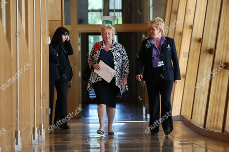 Stock Image of Christine Grahame, Deputy Presiding Office of The Scottish Parliament, makes her way to the Debating Chamber