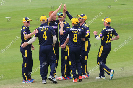 Stock Picture of Ryan Stevenson of Hampshire (C) is congratulated by his team mates after taking the wicket of Nick Browne during Hampshire vs Essex Eagles, Royal London One-Day Cup Cricket at the Ageas Bowl on 5th June 2016