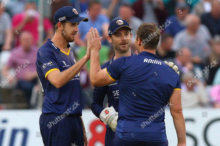 Graham Napier of Essex (R) is congratulated by his team mates after taking the wicket of James Franklin during Essex Eagles vs Middlesex, Nat West T20 Blast Cricket at the Essex County Ground on 10th June 2016