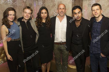 Katie Brayben (Sarah), Alfie Allen (Ted), Annapurna Sriram (Reshma), Scott Elliott (Director), Kunal Nayyar (Kalyan) and Jesse Eisenberg (Author/Ben)