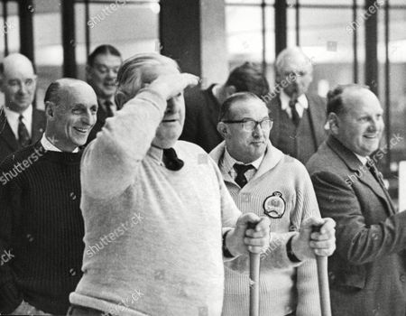 Willie Blair (left Hand Up) England Curling Captain And W. G Piper Scottish Captain. Box 643 102411158 A.jpg.