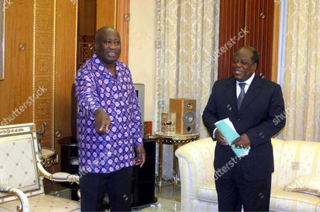 Ivory Coast President Laurent Gbagbo and head of the transition government Prime Minister Charles Konan Banny meeting at the presidential residence in Abidjan - 19 Jan 2006