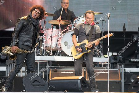 Bruce Springsteen and Jake Clemons (left) of the E Street Band performing