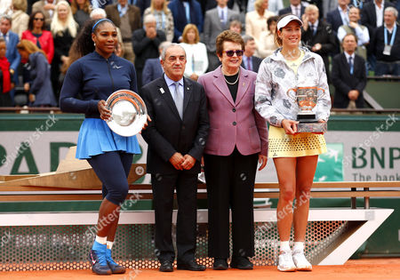 Serena Williams, Jean Gachassin, Bilie Jean King and Garbine Muguruza stand with their trophies during Day Fourteen of the 2016 French Open Tennis championship held at Roland Garros, Paris on June 4th 2016