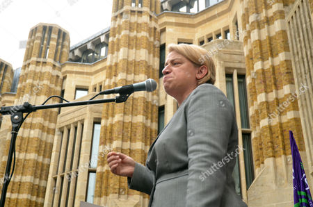 Natalie Bennett leader of the Green Party speaks outside the Department of health to the nurses protesting the replacement of their bursary with a loan.