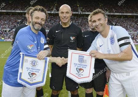 Michael Sheen, Howard Webb and Jonathan Wilkes