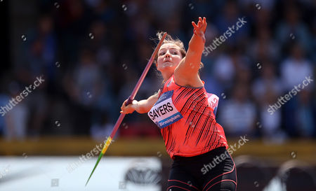 Stock Image of Great Britain's Goldie Sayers during the Women's Javelin during the IAAF Diamond League meeting at the Alexander Stadium, Birmingham on June 5th 2016